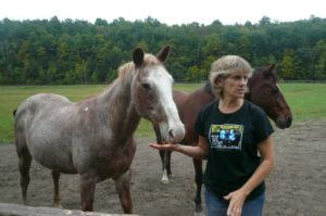 "Kathy telling visitors about horses.  Have you read her book ""Where the Blind Horse Sings""?"